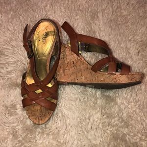 Guess Brown Leather Wedges